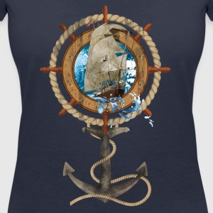 Rudder with Sailing Ship and Anchor - Women's V-Neck T-Shirt
