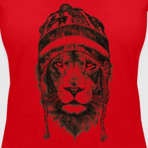 Lion cap black king animals power - Women's Organic V-Neck T-Shirt by Stanley & Stella