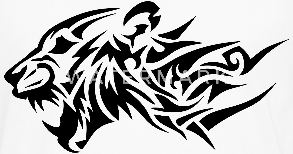 lion tribal tatouage dessin 14024 de c2b spreadshirt. Black Bedroom Furniture Sets. Home Design Ideas
