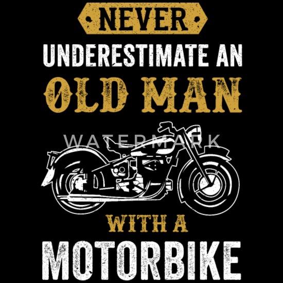 Verjaardag Man Fietser.Oude Man Motorfiets Grappige Fietser Cadeau Mannen Premium Shirt Met Lange Mouwen Zwart