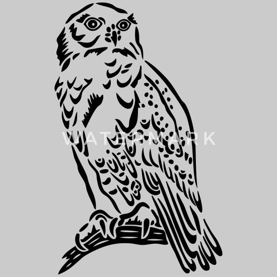 Sowa śnieżna W Stylu Tatuażu Premium Koszulka Damska Z