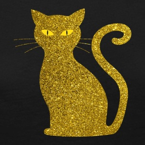 Golden Cat - Golden Cat Gold Glitter Glitter - Långärmad premium-T-shirt dam