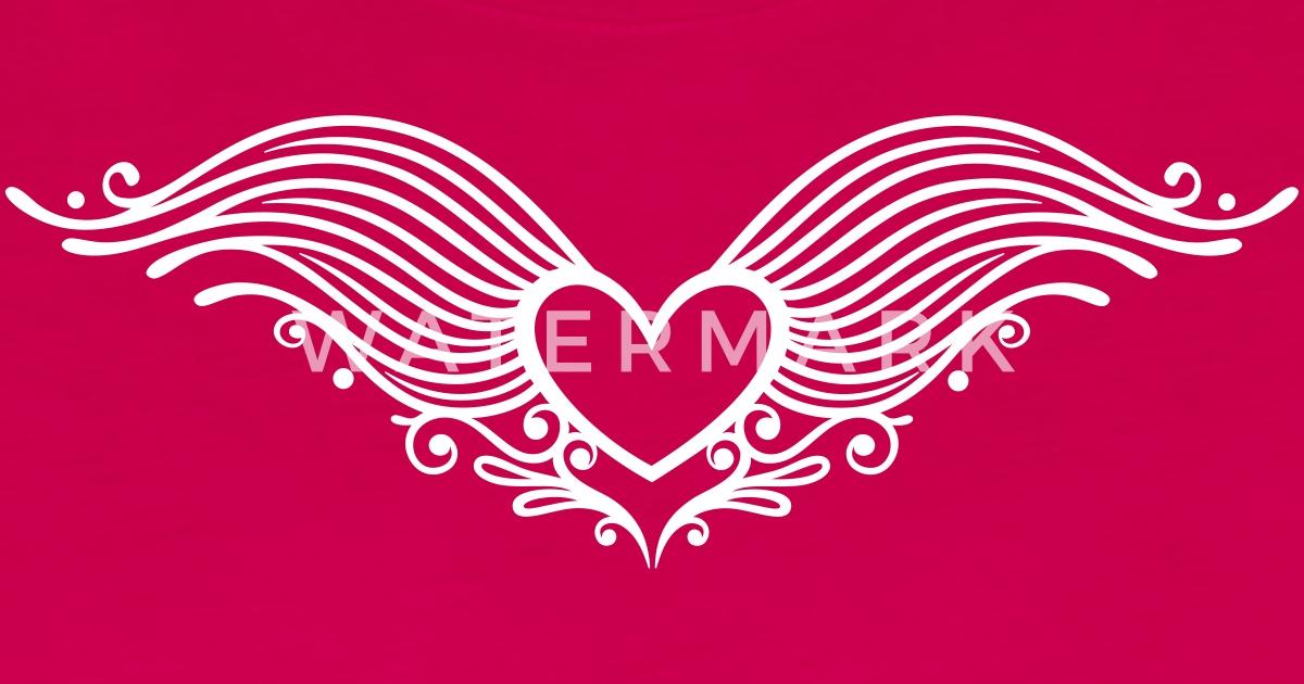 Corazón Alas Alas Corazón Día De San Valentín Amor Camiseta De Manga