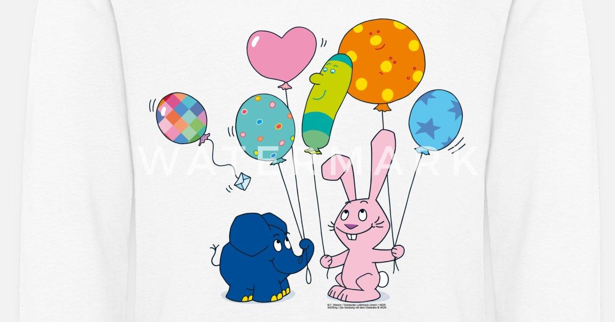 elefant und hase mit luftballons kinder premium