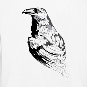 Crow black and white sketch - Kids' Premium Longsleeve Shirt