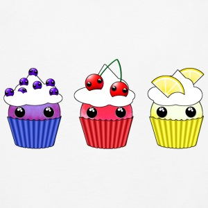Three kawaii cupcakes blueberry cherry lemon - Kids' Premium Longsleeve Shirt