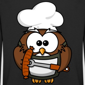 Owl on grill with food comic style - Kids' Premium Longsleeve Shirt