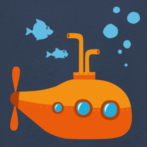 Submarine illustration with fish and sea - Kids' Premium Longsleeve Shirt