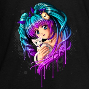 Kitten and Pigtail Manga Girl - T-shirt manches longues Premium Ado