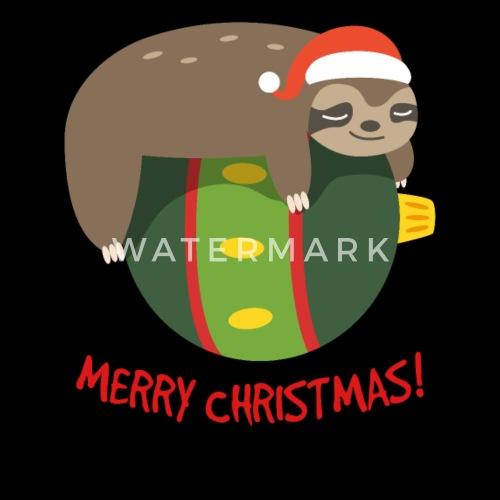 73264478157 Sleeping Sloth On A Chrismtas Ball Santa Hat Snow - Snapback Cap. Front.  Design
