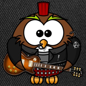 Owl as punk with guitar - Snapback Cap