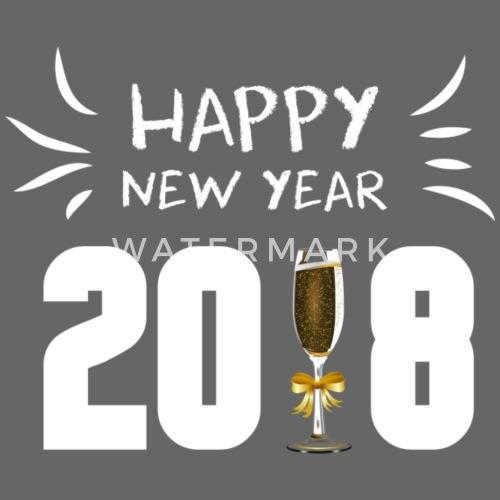 HAPPY NEW YEAR 2018 con bicchiere di champagne bianco - Cappello snapback.  Fronte. Motivo 8125865d2eac