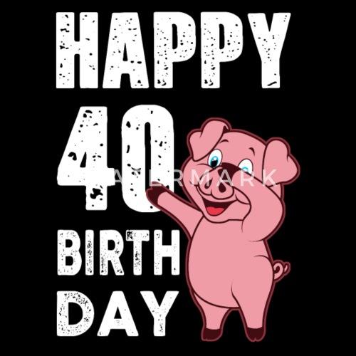 40 Years Happy Birthday Piggy Men S Premium Tank Top Spreadshirt