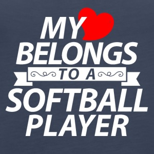 My heart belongs to a softball player - Women's Premium Tank Top