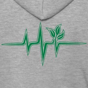 Plant frequency, pulse, heartbeat, green, vegan - Men's Premium Hooded Jacket