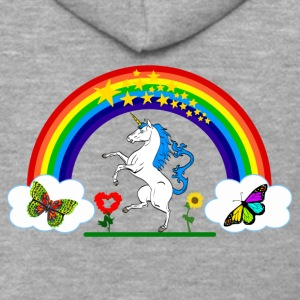 Rainbow Unicorn logo - Men's Premium Hooded Jacket