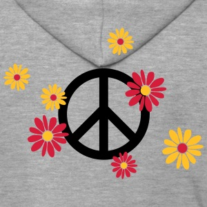 Peace sign flower Love flower power Valentine's Day - Men's Premium Hooded Jacket