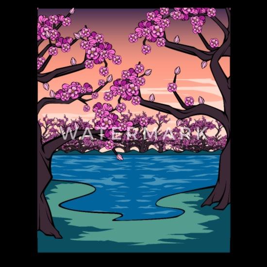 Dessin De Fleur De Cerisier Japonais Kanji Japon Veste A Capuche Premium Homme Spreadshirt
