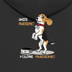Dog T Shirt | Beagle food bowl - Men's Premium Hooded Jacket