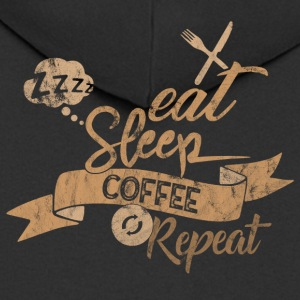 EAT SLEEP COFFEE REPEAT - Men's Premium Hooded Jacket