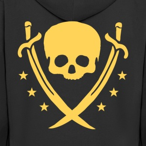 Gold-colored skull, swords and stars - Men's Premium Hooded Jacket