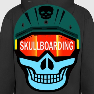 helmet-headed skull - Men's Premium Hooded Jacket