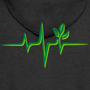 Vegan pulse, plant, frequency, heartbeat, beat, V - Men's Premium Hooded Jacket