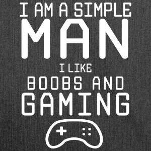 i am a simple man i like boobs and gaming - Schultertasche aus Recycling-Material