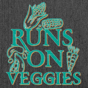 vegan t shirt Runs on veggies - Shoulder Bag made from recycled material