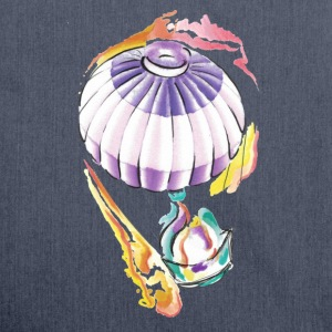 Hot air balloon watercolor taste of ink tattoo - Shoulder Bag made from recycled material