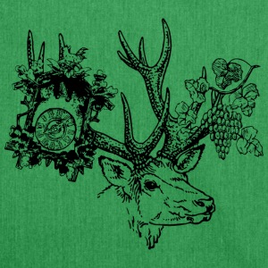 Deer with clock and grapes - Shoulder Bag made from recycled material