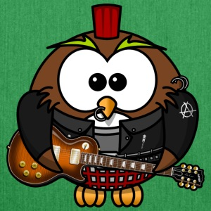 Owl as punk with guitar - Shoulder Bag made from recycled material