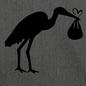 Stork with toddler and heart - Shoulder Bag made from recycled material