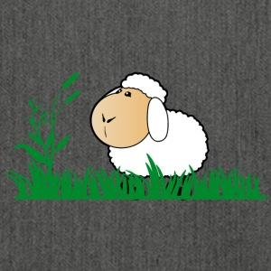 Funny sheep in green grass - Shoulder Bag made from recycled material
