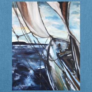boat sailing vessel Sea Wind storm waves painting - Shoulder Bag made from recycled material