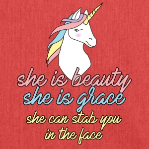 Unicorn: She is beauty, she is grace, she can stab - Shoulder Bag made from recycled material