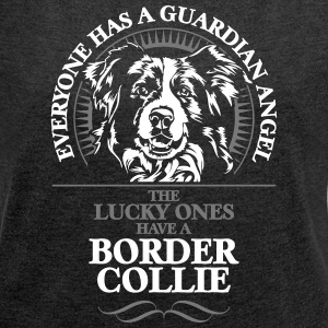 GUARDIAN ANGEL Border Collie - T-skjorte med rulleermer for kvinner
