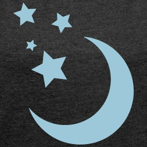 Stars and Moon - Women's T-shirt with rolled up sleeves