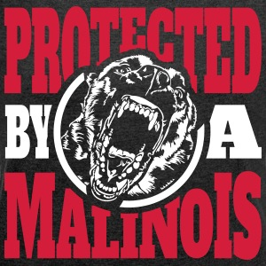 Protected by a MALINOIS - Belgian Malinois - Women's T-shirt with rolled up sleeves