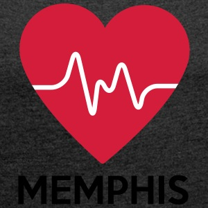 heart Memphis - Women's T-shirt with rolled up sleeves