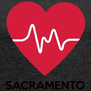 heart Sacramento - Women's T-shirt with rolled up sleeves