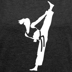 Female martial artist - Women's T-shirt with rolled up sleeves