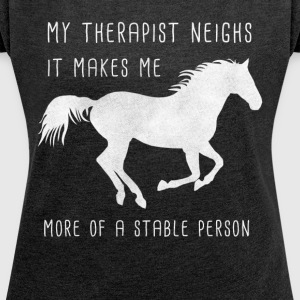 Equine therapy comic design / gift - Women's T-shirt with rolled up sleeves