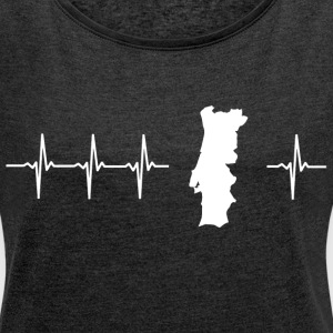 I love Portugal (Portugal heartbeat) - Women's T-shirt with rolled up sleeves