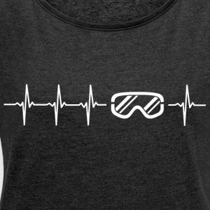I love winter sports (ski heartbeat) - Women's T-shirt with rolled up sleeves