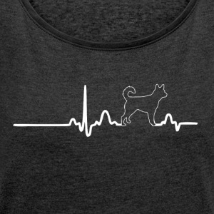 EKG Heart Line HACHIKO white - Women's T-shirt with rolled up sleeves