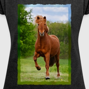 Icelandic horse running in tölt over meadow horse photo - Women's T-shirt with rolled up sleeves