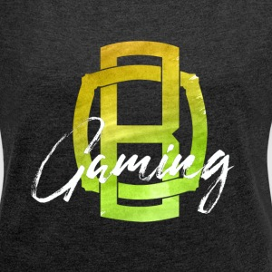 OB Gaming / White lettering - Women's T-shirt with rolled up sleeves