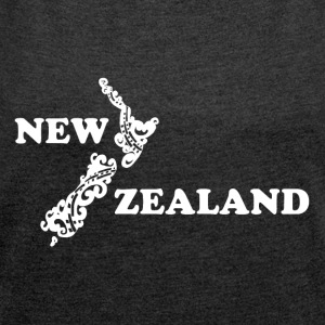 New Zealand: map and lettering in white - Women's T-shirt with rolled up sleeves