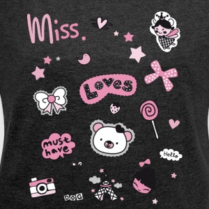 Princess pink grind sweet small Paris patch - Women's T-shirt with rolled up sleeves